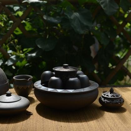玉章凤 傣陶章芭茶器8件套(定制)